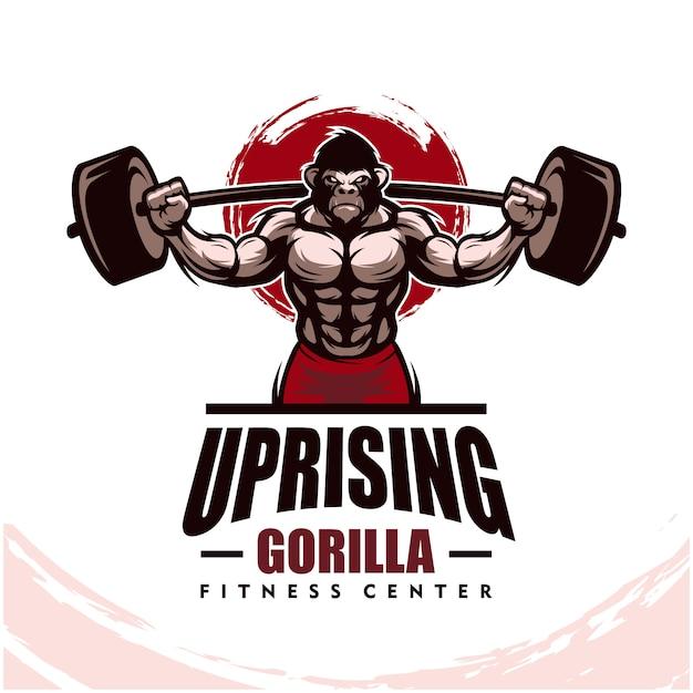 Gorille Avec Un Corps Solide, Un Club De Fitness Ou Un Logo De Gym. Vecteur Premium