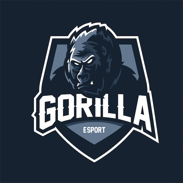 Gorille esport gaming mascotte logo modèle Vecteur Premium