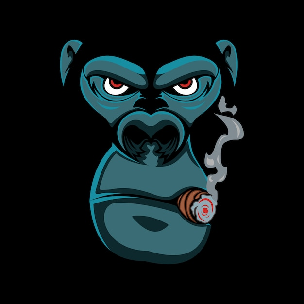 Gorille fumé Vecteur Premium
