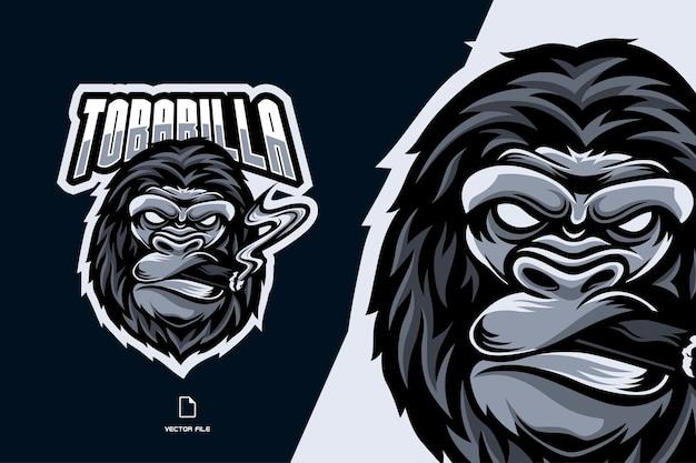 Gorille Avec Illustration De Logo Mascotte Fumée De Cigare Vecteur Premium