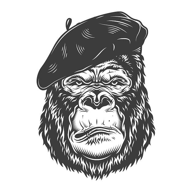 Gorille Sérieux Dans Le Style Monochrome Vecteur gratuit