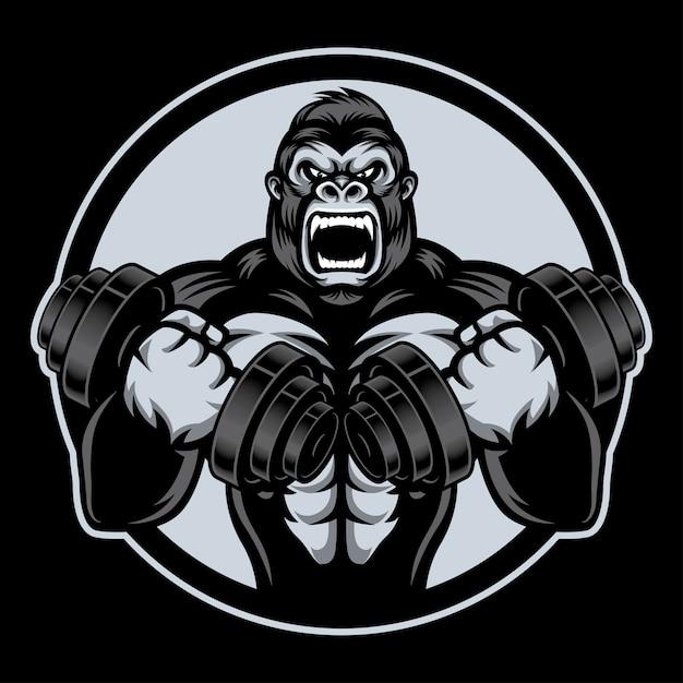 Gorille de storng avec barble Vecteur Premium