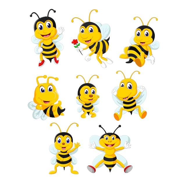 Un gorup de dessin animé mignon d'abeille Vecteur Premium