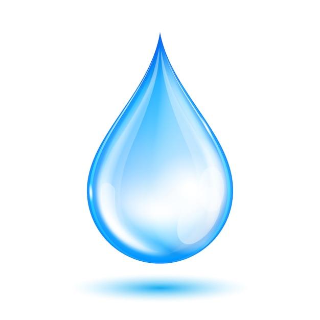 Goutte d'eau brillante bleue Vecteur Premium