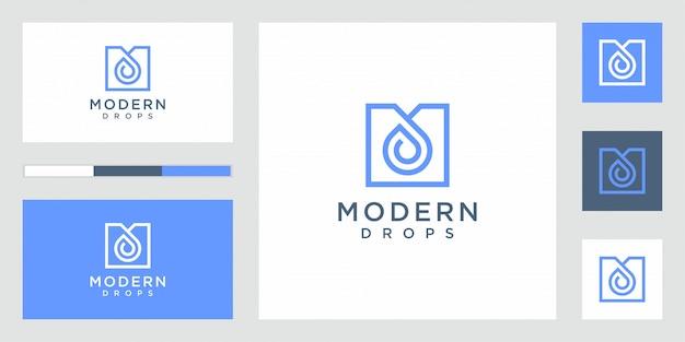 Goutte D'eau Logo Design Vecteur Forme Infinie Linéaire Vecteur Premium