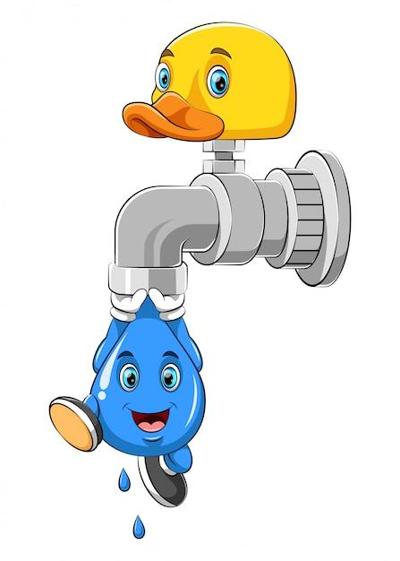 Une goutte d'eau suspendue à un robinet Vecteur Premium