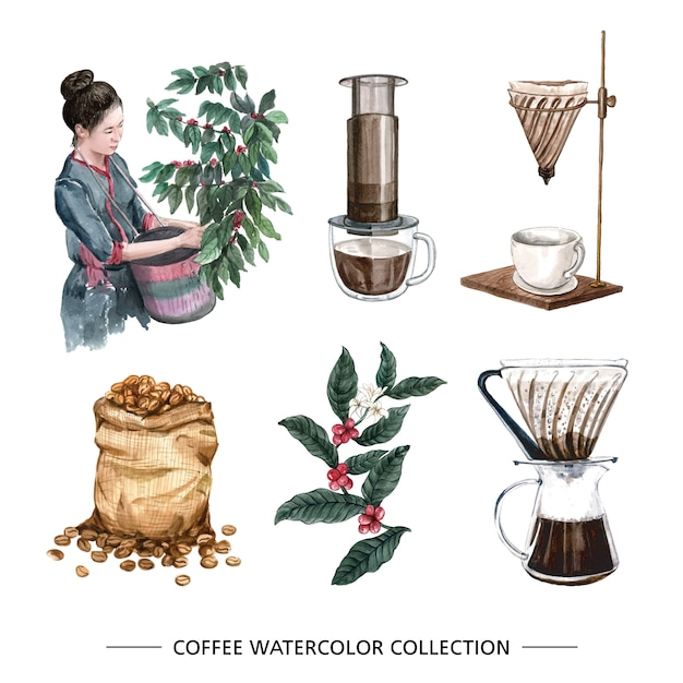 Goutte à goutte de café aquarelle créatif isolé Vecteur gratuit