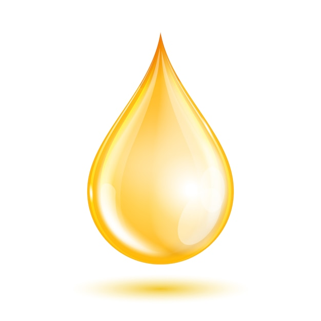 Goutte D'huile Sur Fond Blanc. Vecteur Premium
