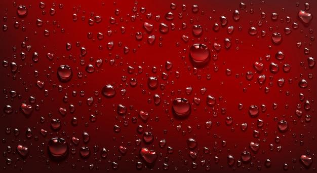 Gouttelettes D'eau Sur Fond Rouge Vecteur gratuit