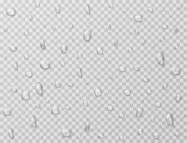 Gouttes D'eau . Des Gouttes De Pluie éclaboussent, Des Gouttelettes Sur Une Fenêtre En Verre Transparent. Texture Goutte De Pluie Vecteur Premium