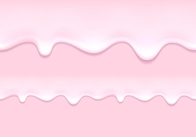 Gouttes de yogourt. lait de fraise qui coule Vecteur Premium