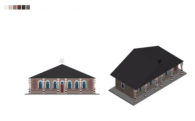 Gouvernement bâtiment isométrique maison administrative de style architectural Vecteur Premium