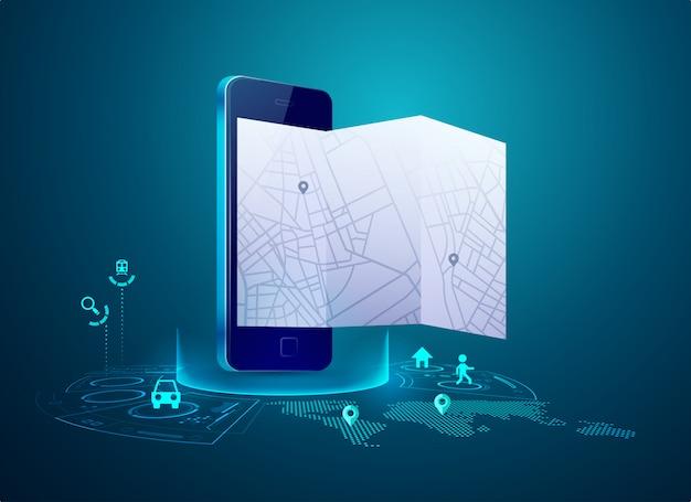 Gps Sur Mobile Vecteur Premium