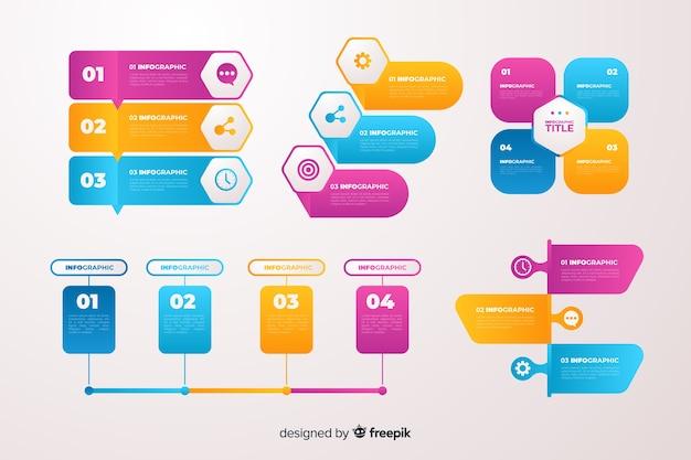 Gradient business infographics elements set Vecteur gratuit