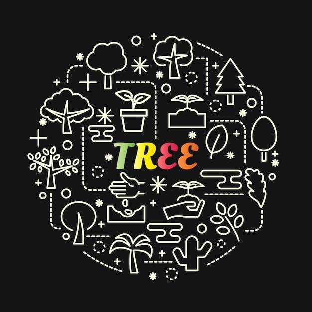 Gradient coloré de l'arbre avec jeu d'icônes de ligne Vecteur Premium