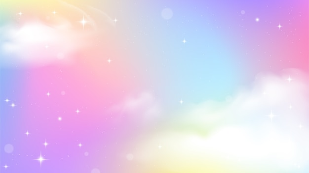 Gradient coloré ciel licorne Vecteur Premium