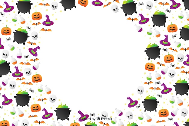 Gradient halloween elements elements avec espace de copie Vecteur gratuit