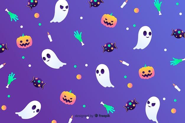 Gradient halloween elements elements Vecteur gratuit