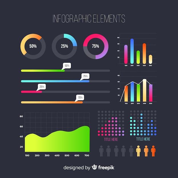 Gradient infographic elements set Vecteur gratuit