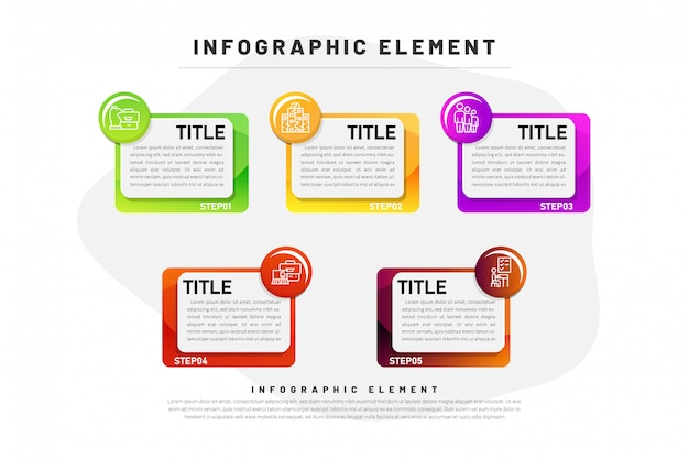 Gradient d'infographie métier avec élément en 5 étapes Vecteur Premium