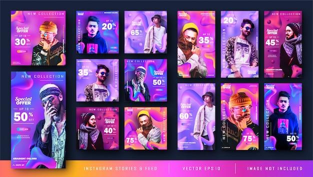 Gradient Liquid Instagram Kit Et Kit D'alimentation Bundle Post Bannière Vecteur Premium