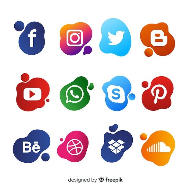 Gradient médias sociaux logo collectio Vecteur gratuit