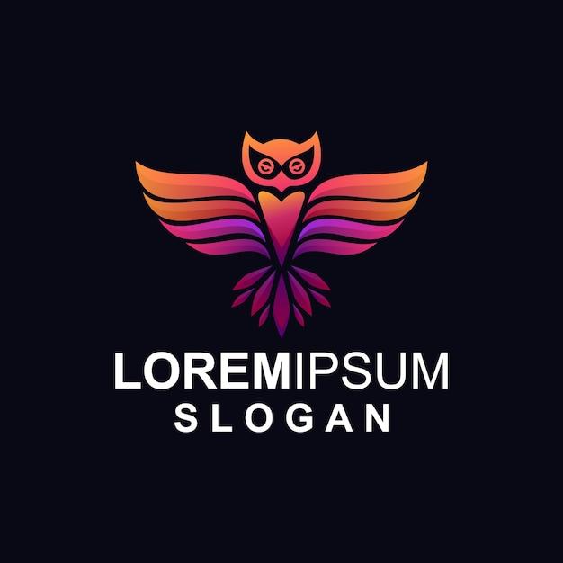 Gradient owl logo Vecteur Premium