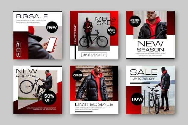 Gradient Sale Instagram Post Collection Vecteur gratuit