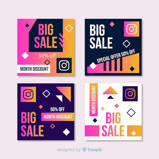Gradient sale instagram post pack Vecteur gratuit