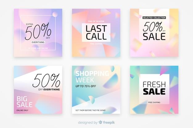 Gradient des ventes instagram post collection Vecteur gratuit