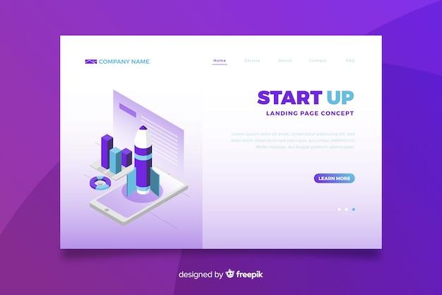 Gradient violet start up landing page Vecteur gratuit