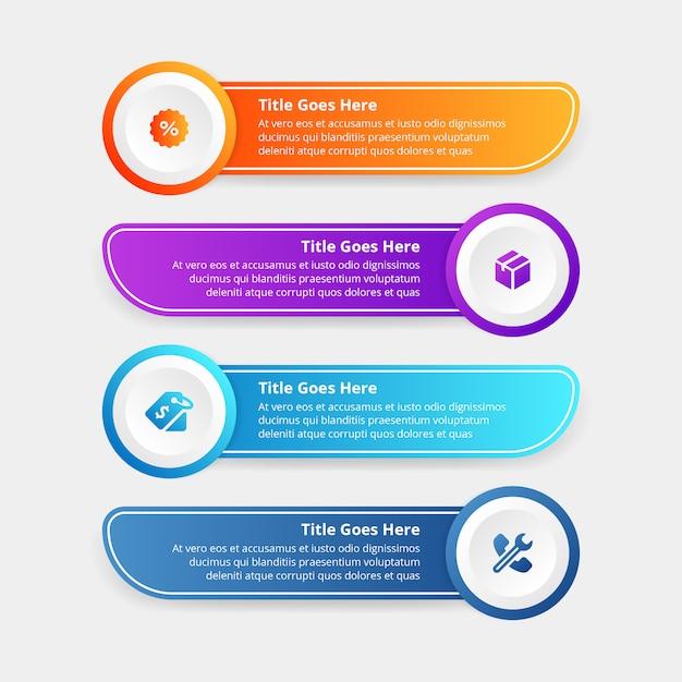 Gradients step modèle infographique design plat Vecteur Premium