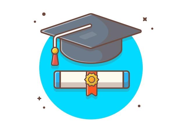 Graduate Cap Avec Scholarship Icon Illustration Vecteur Premium