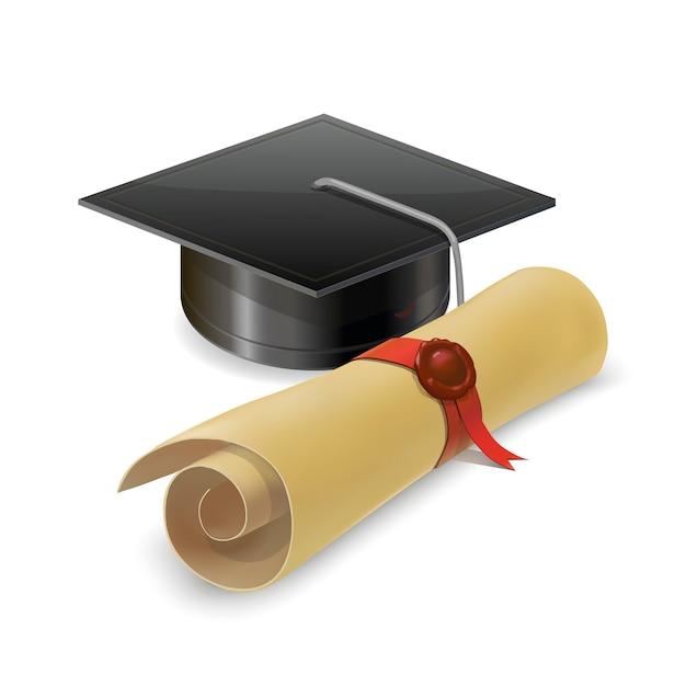 Graduation cap avec diplôme. isolé Vecteur Premium