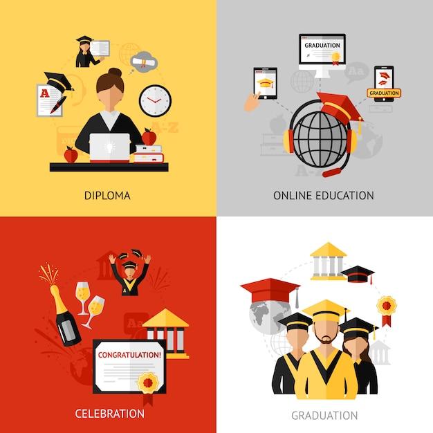Graduation design concept set Vecteur Premium