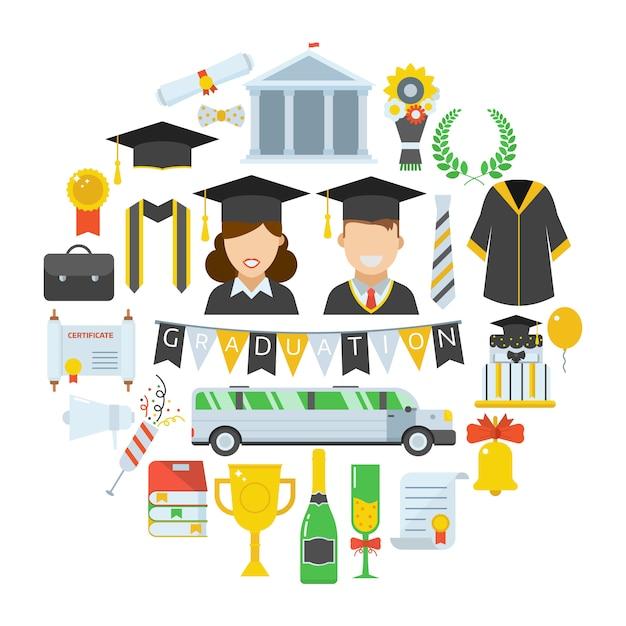 Graduation Vector Icon Set D'éléments De Cérémonie De Célébration Des étudiants Sous Forme De Cercle. Vecteur Premium