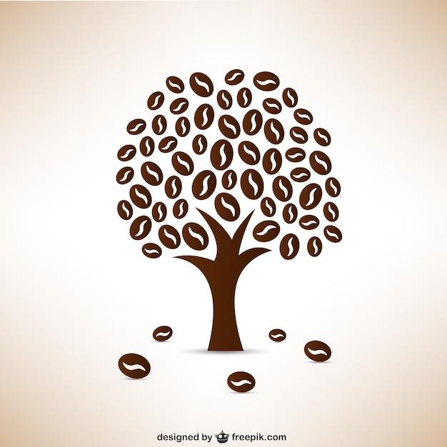 Les grains de café arbre Vecteur gratuit
