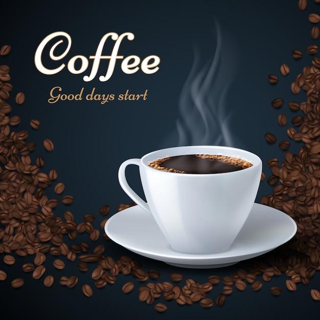 Grains de café aroma et tasse de café chaud. Vecteur Premium