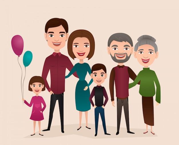 Grand concept de dessin animé de famille heureuse Vecteur Premium