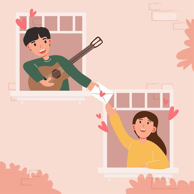 Grand Dessin Animé Isolé De Jeune Fille Et Garçon Amoureux, Partage De Couple Et Amour Attentionné, Jouant De La Guitare Illustration 3d Vecteur gratuit
