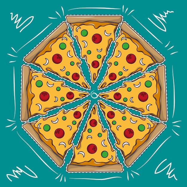 Grand dessin animé pizza Vecteur Premium