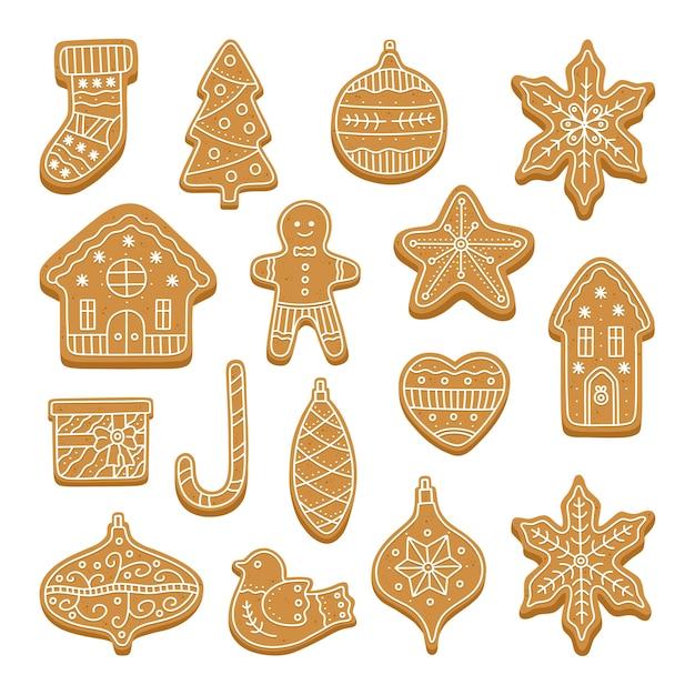 Grand Ensemble De Biscuits De Pain D'épice De Noël. Vecteur Premium