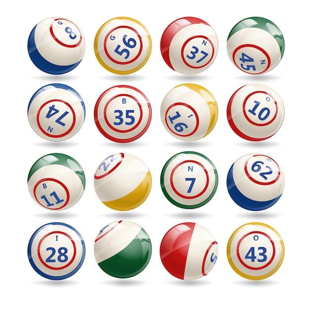 Grand ensemble de boules de bingo de loterie Vecteur Premium