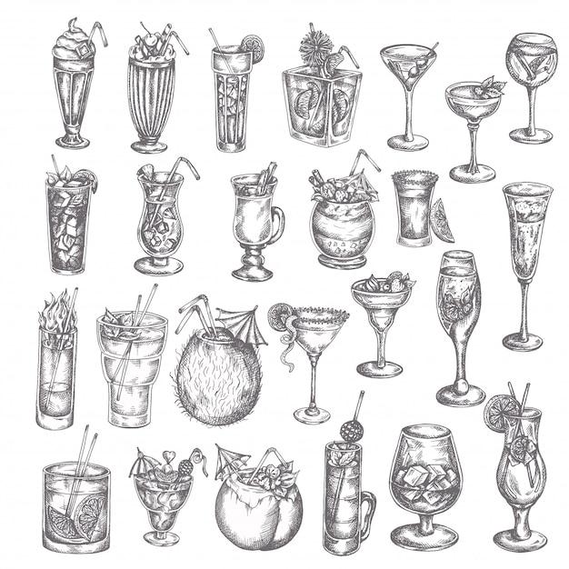 Grand ensemble de cocktails dessinés à la main Vecteur Premium