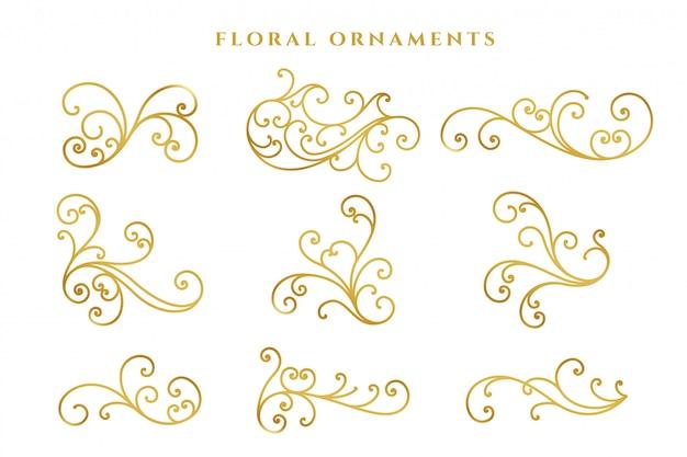 Grand ensemble de décoration florale dorée élégante Vecteur gratuit