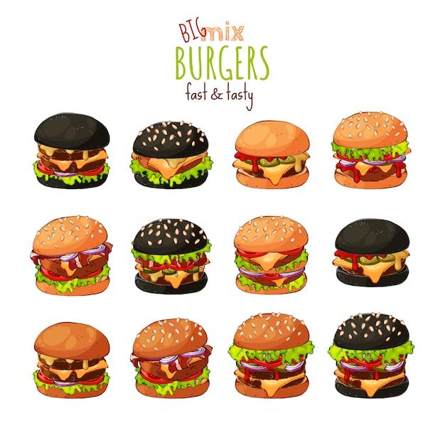 Grand ensemble de différents types de hamburgers. Vecteur Premium