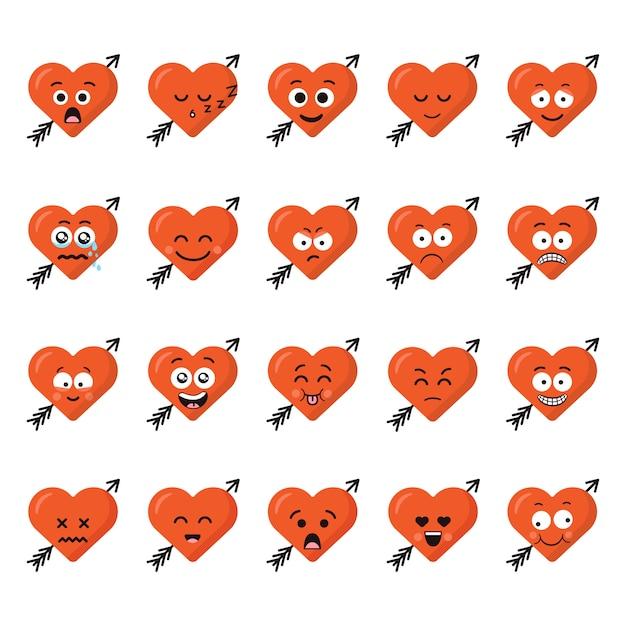 Grand ensemble d'émotions de caractère coeur drôle de bande dessinée Vecteur Premium
