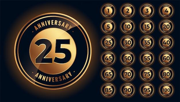Grand Ensemble D'étiquettes Et D'emblèmes D'anniversaire D'or Vecteur gratuit