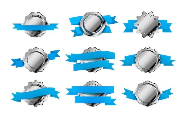 Grand Ensemble D'étiquettes Rétro Argent Vif, Badges Avec Bandes Bleues Sur Blanc Vecteur Premium
