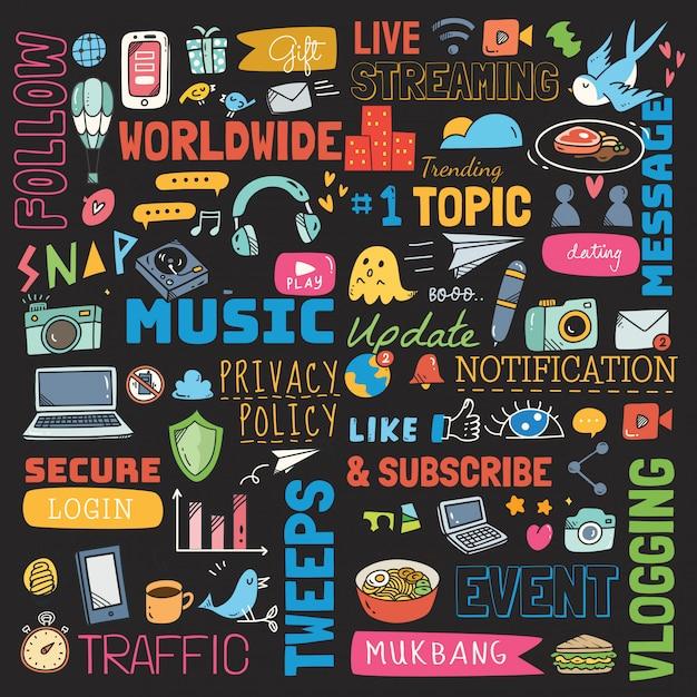 Grand ensemble de fond de médias sociaux doodle Vecteur Premium